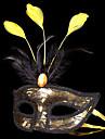 Mask Masquerade Angel/Devil Festival/Holiday Halloween Costumes Golden+Black Patchwork Mask Halloween Carnival Unisex Shiny Metallic