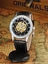 남성 손목 시계 기계식 시계 오토메틱 셀프-윈딩 방수 중공 판화 가죽 밴드 블랙 브라운