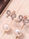 Women\'s Korean Fashion Alloy Bow Zircon Sweet Pearl Crystal Earrings
