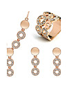 Jewelry Set Elegant Crysta Circle Pendant Necklace Earring Ring Gift