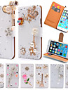роскошь стоять флип личи кожи алмаз Bowknot цветка бумажник чехол для Apple Iphone 6 плюс / 6с плюс ручная работа обложки