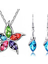 Jewelry Set Shining Crystal Elegant Flower Pendant Necklace Earring Gift for Bride(Assorted Color)