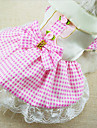 Dog Dress Dog Clothes Fashion Plaid/Check Ruby Blue Blushing Pink