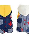 犬用品 パーカー / デニムジャケット イエロー / ホワイト 犬用ウェア 春/秋 ジーンズ / 縞柄 ファッション