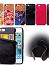 For iPhone 5 Case Card Holder / with Stand Case Back Cover Case Solid Color Hard PU Leather iPhone SE/5s/5
