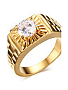 Ring Wedding / Party / Daily / Casual / Sports Jewelry Zircon / Gold Plated Men 1pc,7 / 8 / 9 / 10 / 11 / 12 Gold Christmas Gifts