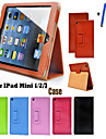 matte litchi oppervlak flip pu lederen case voor Apple iPad mini 1 2 3 tablet met gratis screen protector + pen