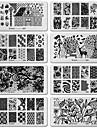 6шт поделки искусства ногтя изображение черного кружева цветок дизайн инструмента оборудования марки штамповки пластин маникюра шаблон