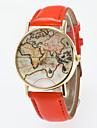 Masculino Mulheres Unissex Relogio de Moda Quartzo PU Banda Vintage Padrao Mapa do MundoPreta Azul Vermelho Laranja Marrom Verde Rosa