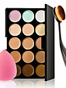 15 Colors Contour Face Cream Makeup Concealer Palette + Sponge Puff Powder Brush for Concealer Foundation Blusher