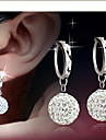 Drop Earrings Bridal Elegant Rhinestone Alloy Ball Silver Jewelry For Daily Casual 1 Pair