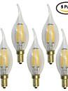 5 pcs kwb E14 5W / 6W 6 COB 600 lm Branco Quente C35 edison Vintage Lampadas de Filamento de LED AC 220-240 V