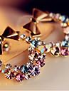 Серьги-гвоздики Стразы Сплав Пурпурный Бижутерия Повседневные 1 комплект