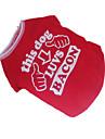 Caes Camiseta Vermelho Roupas para Caes Verao Carta e Numero Fantasias