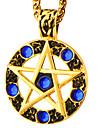 mais popular 18k pingente banhado a ouro azul cristal de rocha rodada estrela colar de homens das mulheres da Idade Media estilo da joia