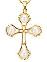 Pendants Metal / Pearl Cross Shape Golden / White 50