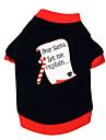 Gatos / Perros Camiseta Negro Ropa para Perro Verano / Primavera/Otono Letra y Numero Navidad