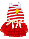 Dog Dress Red / Pink / Yellow Dog Clothes Summer Bowknot / Cartoon