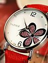 YAZOLE 여성용 드레스 시계 패션 시계 손목 시계 석영 라인석 가죽 밴드 꽃패턴 블랙 화이트 레드