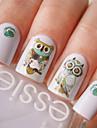 Nail Art Water Decals Transfer Stickers Cute Animal Owl Pattern Sticker BOP124