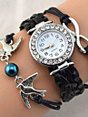 Women Bird Love Heart Multilayer Knitted Faux Leather Bracelet Wrap Wrist Watch