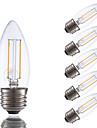 2W E26/E27 LED лампы накаливания B 2 COB 200 lm Тёплый белый Регулируемая V 6 шт.