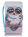 소니 xperia e5 xa 올빼미 페인트 카드 스텐 트 pu 가죽 휴대 전화 권총 휴대 전화 케이스