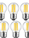 6W E26/E27 LED лампы накаливания G45 6 COB 560 lm Тёплый белый Декоративная V 6 шт.