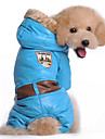 Dog Coat Hoodie Clothes/Jumpsuit Dog Clothes Winter Spring/Fall Solid Keep Warm Windproof Blue Pink