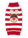 Cat Dog Sweater Red Dog Clothes Winter Spring/Fall Reindeer Cute Christmas