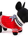 Cat / Dog Sweater Red / Blue Dog Clothes Winter / Spring/Fall Color Block Cute / Christmas / New Year\'s