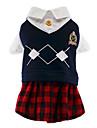 고양이 개 코스츔 티셔츠 점프 수트 강아지 의류 겨울 모든계절/가을 격자 무늬 / 체크 귀여운 코스프레 패션 레드 / 블루 화이트 블루
