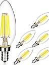 kwb 6pcs 6w e14 levou lampadas de filamento c35 6 espiga 560 lm branco branco quente / quente (220-240v)