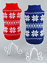 Cat Dog Sweater Red Blue Dog Clothes Winter Spring/Fall Snowflake Classic Christmas New Year\'s