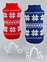 Chat Chien Pull Rouge Bleu Vetements pour Chien Hiver Printemps/Automne Motif de flocon de neige Classique Noel Nouvel An