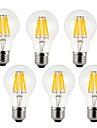 8W E26/E27 LED필라멘트 전구 A60(A19) 8 COB 800 lm 따뜻한 화이트 / 차가운 화이트 장식 AC 220-240 V 6개
