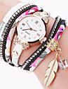 Femme Montre Habillee Montre Tendance Montre Bracelet Bracelet de Montre Quartz Colore Punk Tissu Banderetro Etincelant Feuilles Bonbon