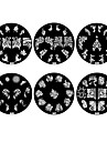 1PCS 2D Metal Flowers Nail Art Image Stamp Plate (Assorted Colors,NO.43-48)