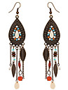 Vintage Bohemia Colorful Beads Leaves Dangle Earrings Antique Bronze Plated Long Tassel Earrings For Women Boho Jewelry