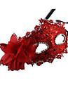 Mascara Princesa Conto de Fadas Festival/Celebracao Trajes da Noite das Bruxas Vermelho Castanho Dourado Laranja Cor Unica Rendas Mascara