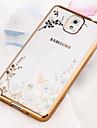Para Samsung Galaxy Note Cromado / Transparente / Estampada Capinha Capa Traseira Capinha Flor TPU Samsung Note 5 / Note 4 / Note 3