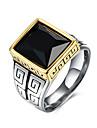 Кольца Повседневные Бижутерия Нержавеющая сталь Титановая сталь Стекло Мужчины Кольцо 1шт,9 10 11 Черный