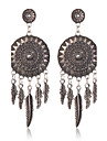 Europe Ancient Silver Dreamcatcher Earrings Vintage Metal Braided Hollow Long Earrings Flowers Exaggerated