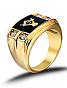 Men's Stainless Steel CZ Masonic Ring AAA  Cubic Zirconia Ionic Gold Plated Environmental Material Lead Diamond Birthstone  Christmas Gifts