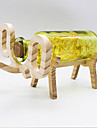 YouOKLight Creative Handmade Glass Bottle Wood Elephant Light - Yellow/Red/Blue