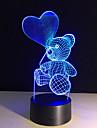 a forma urso bonito coracao dos desenhos animados lampada LED noite bebe 3d luz