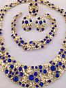 Femme Set de Bijoux Bague Colliers Declaration Bracelet Boucles d\'Oreille Original bijoux de fantaisie Mode Personnalise Afrique Cristal