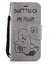 Para Carteira Porta-Cartao Com Suporte Flip Com Relevo Estampada Capinha Corpo Inteiro Capinha Animal Rigida Couro PU para AppleiPhone 7