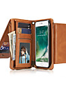Pour Portefeuille Porte Carte Clapet Coque Coque Integrale Coque Couleur Pleine Dur Vrai Cuir pour AppleiPhone 7 Plus iPhone 7 iPhone 6s