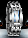 Herre Armbaandsur Digital Watch LED Vannavvisende Digital Rustfritt staal Band Luxury Svart Soelv